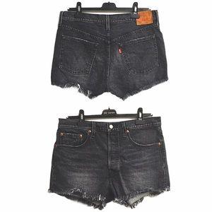 LEVI's 501 High Rise Denim Shorts Faded Black 30